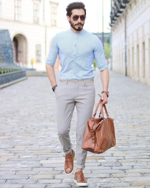 what colour shirt with grey trousers