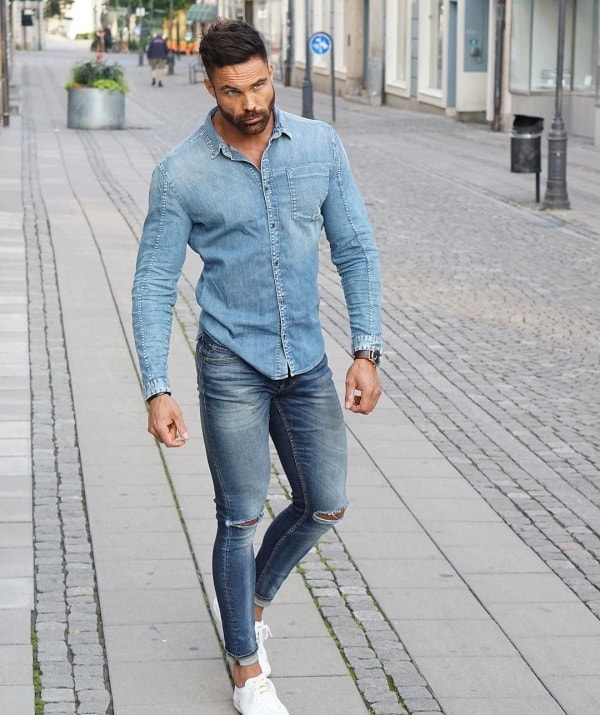 Stylish Denim Shirt Outfits For Men