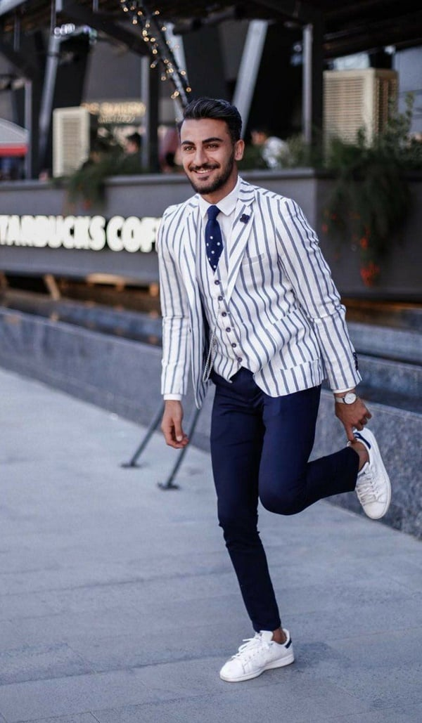 Dashing Suit With Sneakers Outfit To Try