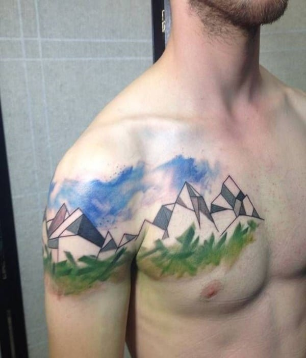 Simple Mountain Range Tattoo Designs For Men