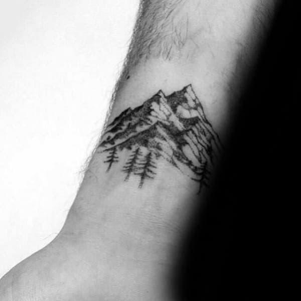 Simple Mountain Range Tattoo Designs For Men