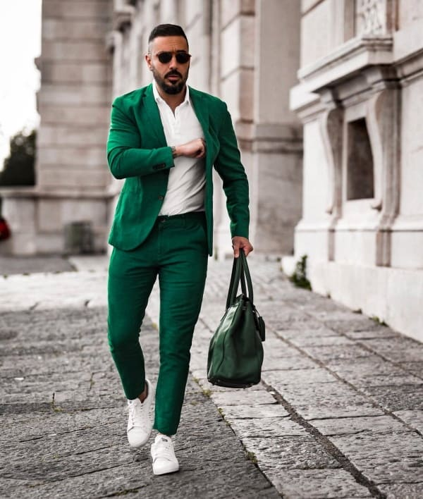 Stylish Suit With Sneakers Outfit Ideas
