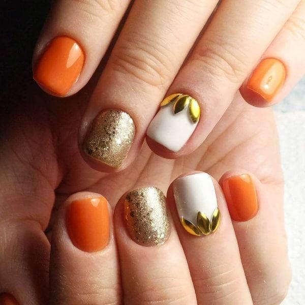 Beautiful Orange Nail Designs For Women